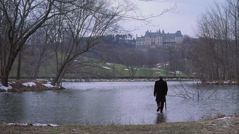 """""""Life is a state of mind."""" Chance walking on water with the Vanderbilt's Biltmore Estate in the background"""