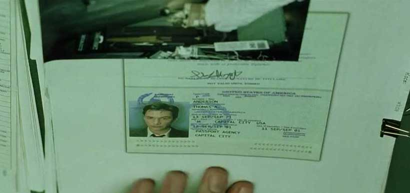 Neo passport expires on 9/11. Some see thesi as foreknowledge by the filmmaker and possible example of predictive programming.